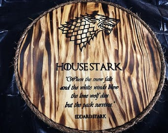 House Stark wooden placard. Game of thrones.