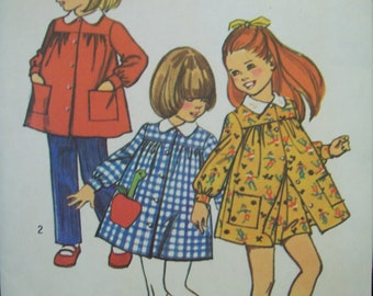Child's Pants in Two Lengths and Smock Dress 1970s Simplicity Pattern 5164 Size 2