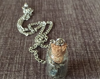 Raw Kyanite in a Bottle Necklace