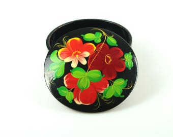 Vintage Black Jewelry Box Fresh colors, Small Wood Russian Floral Folk art, Round Handpainted Treasury Box, Tiny Rustic style Round  box