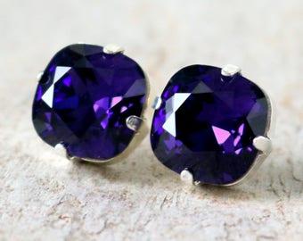Purple Velvet | Swarovski Crystal | Cushion Cut | Swarovski Earrings | Square Earrings | Wedding Jewelry | Gift For Her | Purple Jewelry