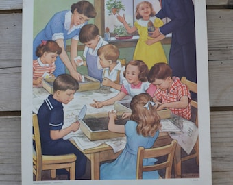 Vintage Providence Lithograph Sunday School Family Friends in Church Gardening Planting Children Print Art