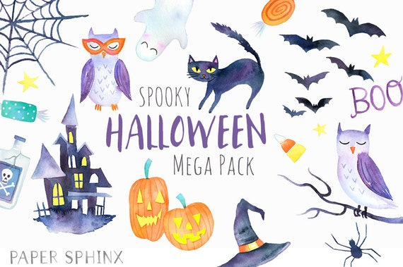 watercolor halloween clipart spooky halloween party clip art rh etsy com free spooky halloween clip art Cute Halloween Clip Art