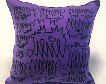 Graffiti accent throw pillow