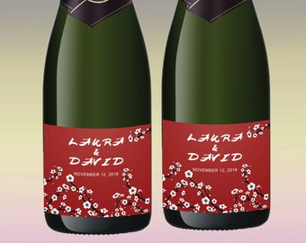 Japanese Chery Blossom Bridesmaid Proposal Champagne Labels for Wedding Boxes Destination Red Wedding Cherry Blossoms Wedding