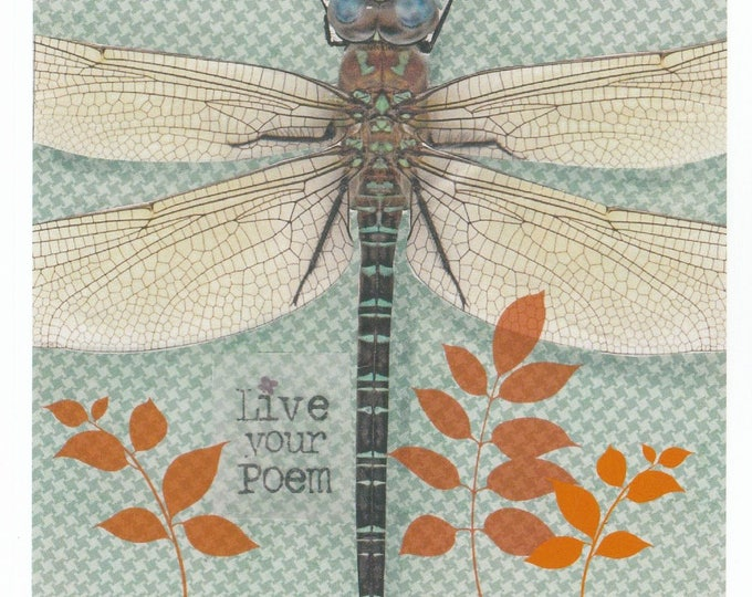 Live Your Poem Dragonfly Collage Print