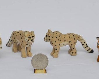 Hand Carved Wooden Noah's Ark Animals Lion, Cheetah, and Tigers