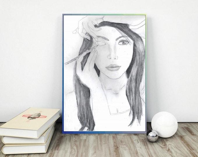 Paper Print fashion sketch, fashion sketch wall art, fashion sketch print, Fashion wall art, framed art, prints