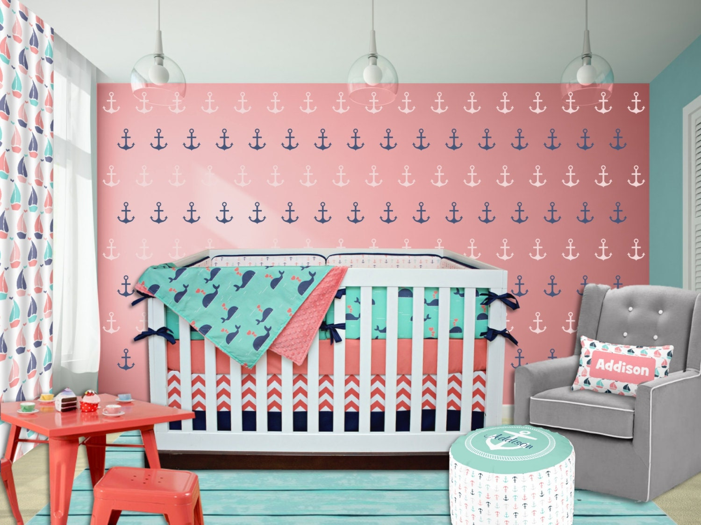 Pink And Grey Crib Bedding Etsy