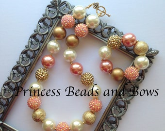 Shades of Coral, Gold and Ivory Chunky Necklace and Bracelet, Bubble Gum Necklace, Kids, Girls, Baby, Photo Prop
