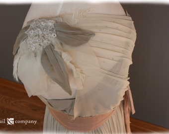 Gray Wedding Dress One Shoulder, Custom Made in your size - Julie Style