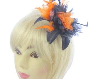 Navy and orange fascinator hair comb, weddings, races, ladies day