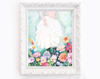 Girl Walking Through Flowers Watercolor -  Art Painting Print