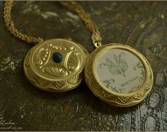 SALE - Wild Forest natural solid perfume locket pendant with chain-  beeswax and essential oils - aromatherapy