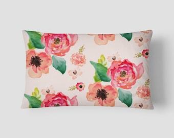 """Floral Dreams // Decorative Pillow Cover 12""""x18"""" // Lumbar Pillow // Rectangular Throw Pillow"""