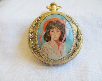Vintage Powder Compact in the Shape of a Pocket Watch, Portrait Compact