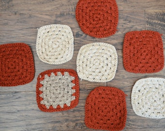 Vintage Granny Squares in Rust and Cream colours, 8 Afghan Pieces, Craft Supply, Crochet Pieces