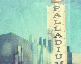 Los Angeles photography, Hollywood Palladium, peppermint blue decor Sunset Blvd retro music rock star concert moderne art deco architecture