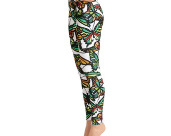 Beautiful Stained Glass Butterflies Butterfly Bold Colors Womens leggings Yoga Leggings