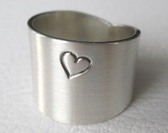 Wide Sterling Silver Ring with Heart, Wide Silver Band