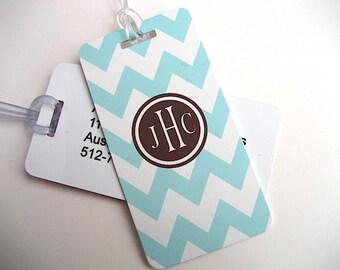 Luggage Tag Pair -  Blue and White Chevron Custom Monogram Luggage Tag - Personalized Luggage Tag - Travel Tag - Your Monogram