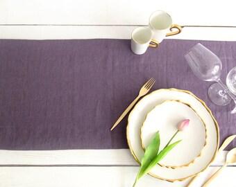 Lavender Table Runner handmade of pure Linen- Wedding Table Decor