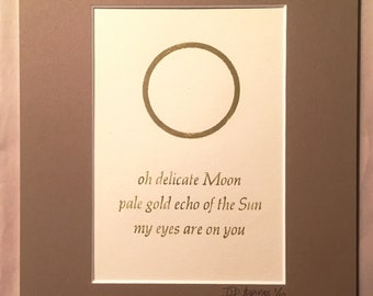 Limited Edition Letterpress Print of Original Haiku (oh delicate moon)