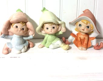 3 Vintage Ceramic Pixie Elves