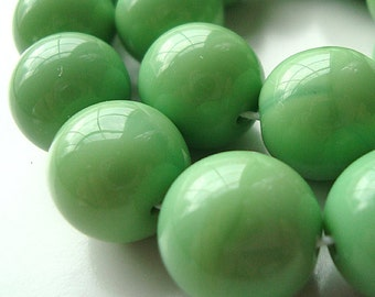 Czech Glass Beads 12mm Lime Green Opaque Smooth Rounds - 8 Pieces