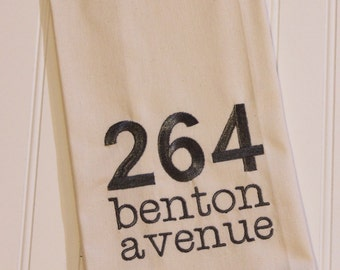 Personalized Address Dish Towel Embroidered, for Home, Cabin or Cottage