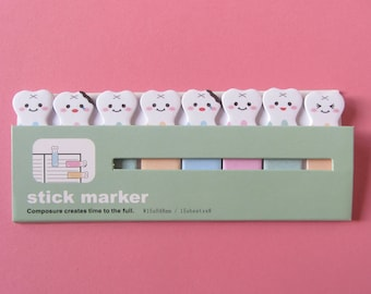 Kawaii Teeth Sticky Notes, Tooth Index Notes for Planners Journals Notebooks, Sticky Page Markers, Dentist Dental Hygienist Gift