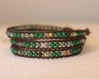 Triple Wrap Leather Bracelet, Beaded Wrap Bracelet