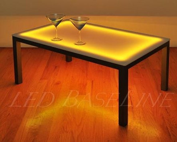 22 Led Lighted Color Changing Coffee Table Display Glass