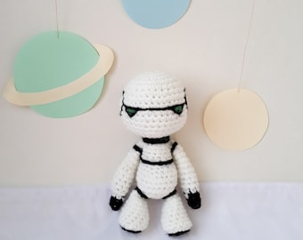 Marvin sad robot, crochet amigurumi soft toy, The Hitchhiker's Guide to the Galaxy