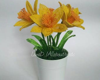 French Beaded Daffodils