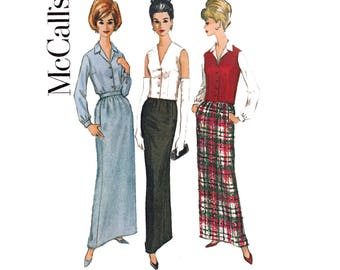 McCall's 7013 Womens Skirt Blouse & Vest 60s Vintage Sewing Pattern Size 12 Bust 32 inches UNCUT Factory Folds