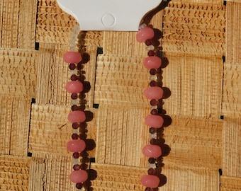 Bracelet of Rose Quartz, Garnet and Moonstone w/Magnetic Clasp