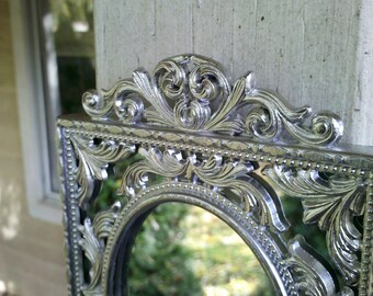 Silver Wall Mirror in Ornate Vintage Brass Frame