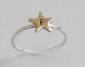 Initial Star Ring Personalized Gift Graduation Present Initial Ring Sterling Silver Actor Gift for Her Personalized Ring