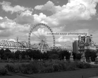 Paris Ferris Wheel Photograph black and white