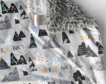 ADVENTURE GRAY >> baby boy blanket, baby girl blanket, soft cuddle blanket, minky blanket, stroller blanket, faux fur blanket, pla