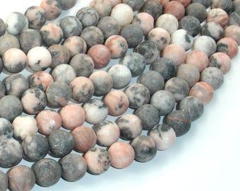 Matte Pink Zebra Jasper, 8mm(8.5mm) Round Beads, 15 Inch, Full strand, Approx 47 beads, Hole 1mm (352054006)