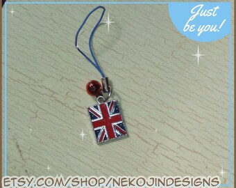 Union Jack Cell Phone Charm - cellphone lanyard lariat zipper pull dust plug - British flag BBC sherlock torchwood dr who London England
