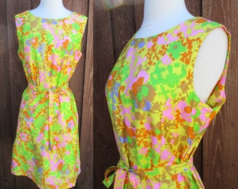 Yellow Flower Print Sears Dress Sleeveless Scoop Neck Day Dress with Tie Belt Size L