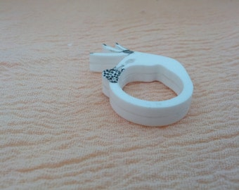 Strawberry Ring, Hand Ring, White Whipped Cream Strawberry Ring, Laser Cut Acrylic Ring, Wearable Technology