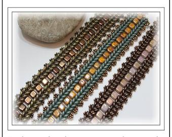 Tutorial ~ Czechmate Tile and SuperDuo Herringbone Bracelet by Reggie's Creations ~ Beaded Bracelet Pattern
