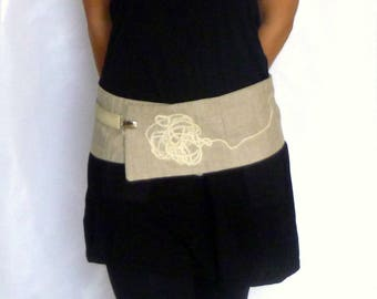 "Belt ""Lucienne"" linen and wool pillow - wide belt - obi"