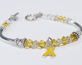 Yellow Ribbon Awareness Charm Bracelet: Sarcoma/Bone Cancer, Soldier Support, Spina Bifida, Missing Children, Bladder Cancer, Cancer Support