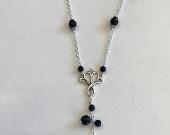 Sterling with onyx beads drop necklace