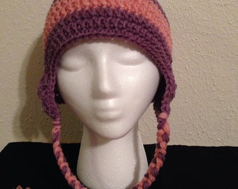 Earflap Hat- Pink and Purple